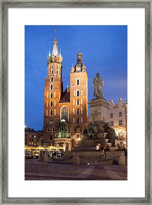 St Mary Basilica And Adam Mickiewicz Monument At Night In Krakow Framed Print