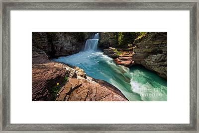 St Mary Falls - Glacier National Park Framed Print by Matt Tilghman