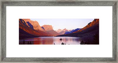 St. Mary Lake At Us Glacier National Framed Print by Panoramic Images