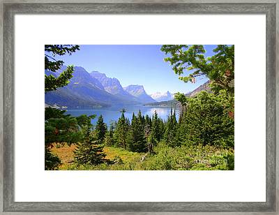 St. Mary Lake Framed Print by Bob Hislop