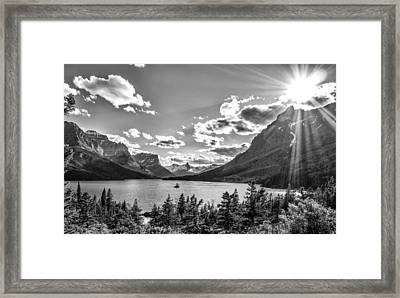 St. Mary Lake Bw Framed Print by Aaron Aldrich