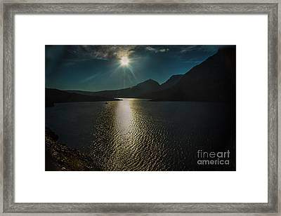 St Mary Lake Framed Print by Robert Bales