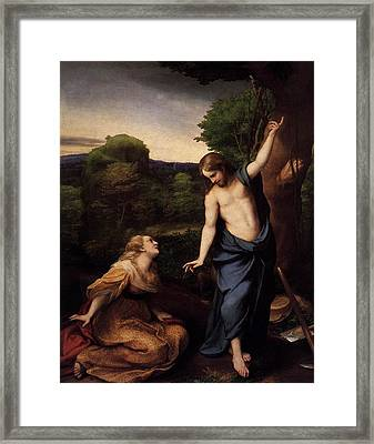 St Mary Magdalene And Christ Framed Print by Antonio Correggio