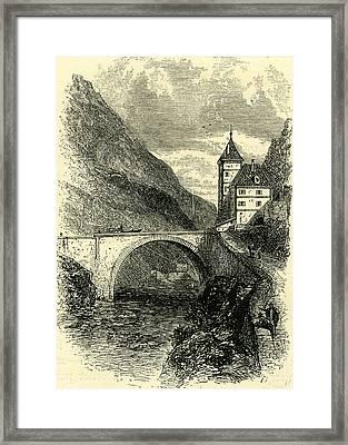 St. Maurice Switzerland Engraving 19 C Framed Print