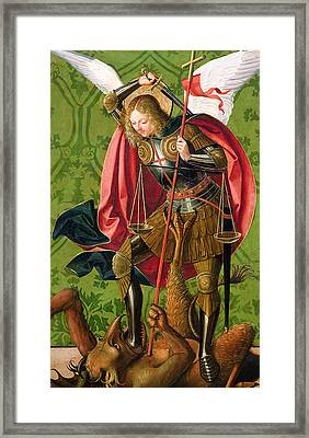 St. Michael Killing The Dragon  Framed Print by Josse Lieferinxe