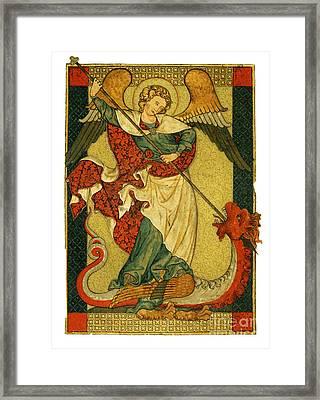 St Michael Triumphant Over The Devil Antique Painting Framed Print by Christos Georghiou