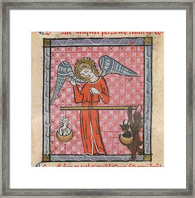 St Michael Weighing Souls Framed Print by British Library