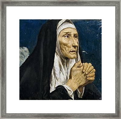 St Monica Framed Print by Luis Tristan de Escamilla