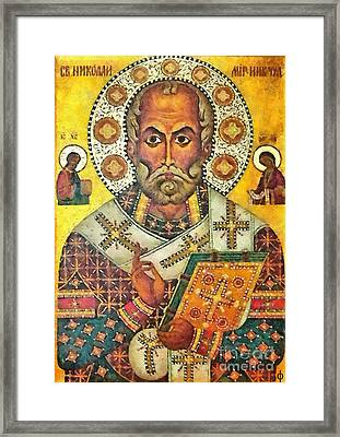 St Nicholas' Icon Framed Print by Dragica  Micki Fortuna