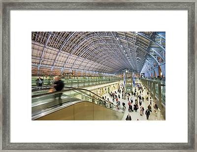 St Pancras Railway Station In London Uk Framed Print by Ashley Cooper