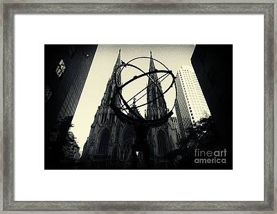 St Patrick's Cathedral And Statue Of Atlas New York City Framed Print by Sabine Jacobs