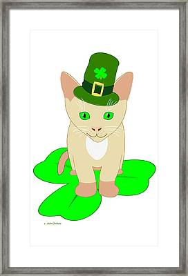 St. Patrick's Day Cat Framed Print