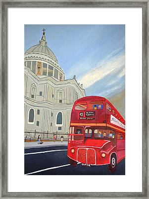 St. Paul Cathedral And London Bus Framed Print