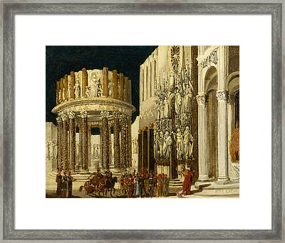 St Paul Preaching To The Athenians Framed Print by Francois de Nome
