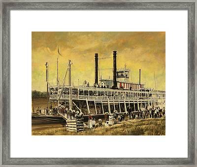 St. Paul Steamboat Framed Print by Don  Langeneckert