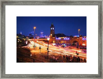 St. Pauli Landing Stages At Night Framed Print by Marc Huebner