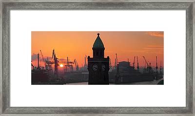 St. Pauli Landing Stages Sunset Framed Print by Marc Huebner