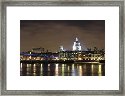 St Pauls And The Millenium Bridge At Night Framed Print by Ash Sharesomephotos
