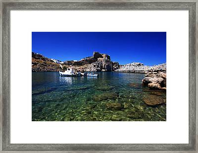 St Pauls Bay Lindos Rhodes Greece Framed Print