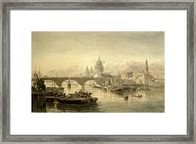 St. Pauls Cathedral And London Bridge Framed Print by Edward Angelo Goodall