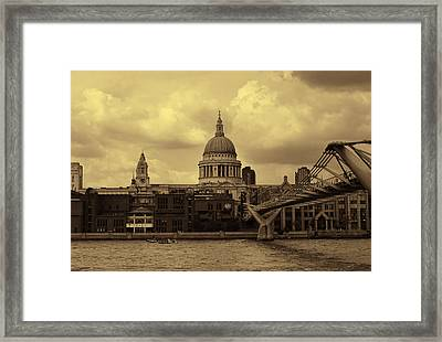 St Paul's Cathedral And Millennium Bridge London Framed Print by Nicky Jameson