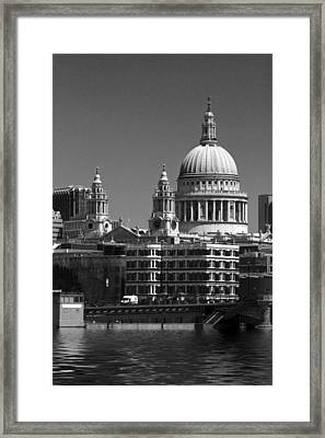 St Pauls Cathedral At London Bw Attractions  Framed Print by David French