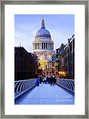St. Paul's Cathedral London At Dusk Framed Print by Elena Elisseeva