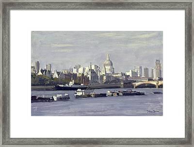 St. Pauls From Bankside Oil On Canvas Framed Print