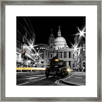 St Pauls With Black Cab Framed Print