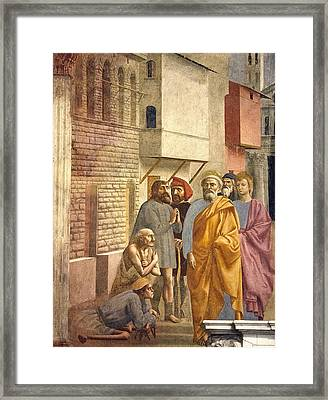 St. Peter Healing With His Shadow Framed Print by Sheila Terry