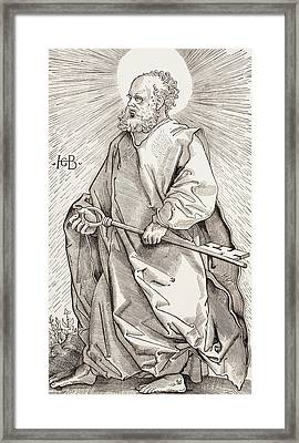 St Peter Holding The Keys Of The Kingdom Of Heaven Framed Print by French School