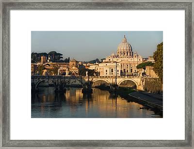 St Peter Morning Glow - Impressions Of Rome Framed Print by Georgia Mizuleva