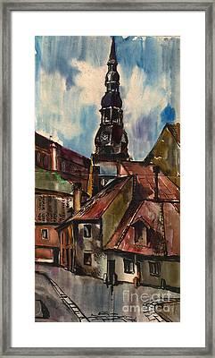 St. Peter's Church In Riga Framed Print by Anna Lobovikov-Katz