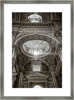 St. Peter's Rays In Sepia Framed Print by Susan Schmitz