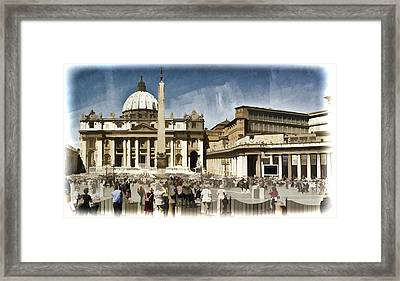 St Peters Square - Vatican Framed Print by Jon Berghoff