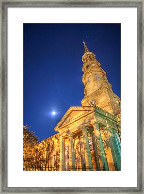 St. Phillip's At Night With Moon And Stars Framed Print
