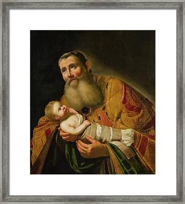 St Simeon Presenting The Infant Christ In The Temple  Framed Print by Jan van Bijlert or Bylert