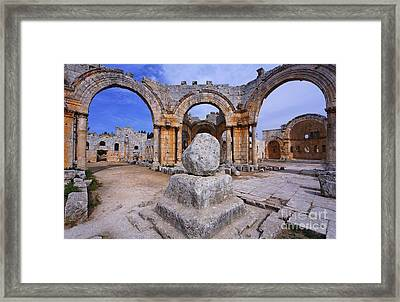 St Simeons Pillar In The Ruins Of The Church Of St Simeon Syria Framed Print