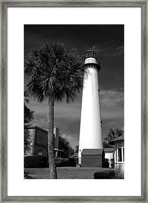 St. Simons Island Georgia Lighthouse In Black And White Framed Print