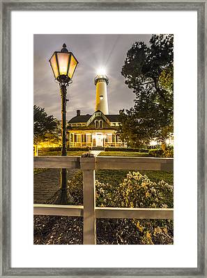 St. Simons Lighthouse Framed Print by Debra and Dave Vanderlaan