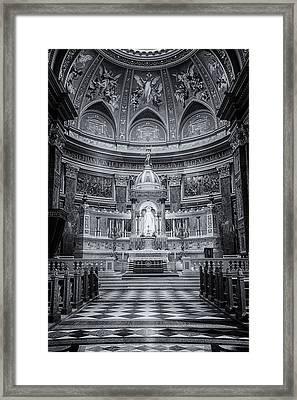 St Stephen's Basilica Interior Budapest Bw Framed Print by Joan Carroll
