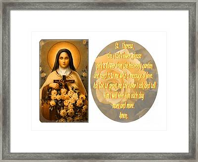 St. Theresa Gold Framed Print by Barbara Griffin