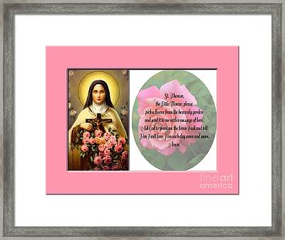 St. Theresa Prayer With Pink Border Framed Print by Barbara Griffin