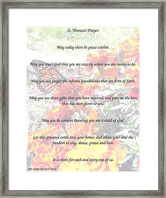 St Theresa's Prayer Framed Print