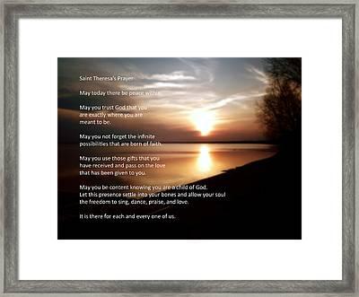 St. Theresa's Prayer Framed Print by Ric Potvin