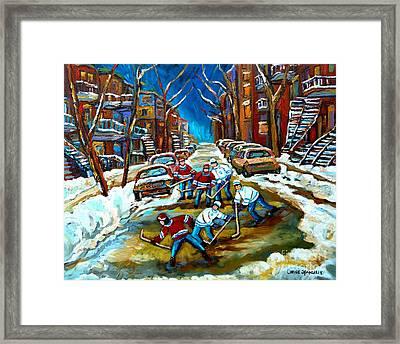 St Urbain Street Boys Playing Hockey Framed Print by Carole Spandau