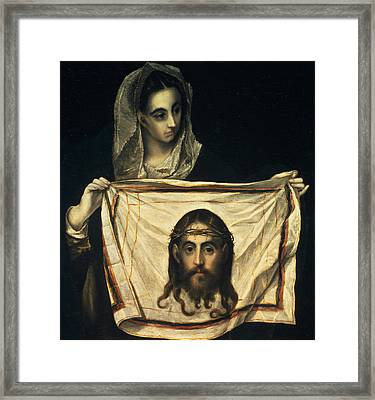 St Veronica With The Holy Shroud Framed Print by El Greco Domenico Theotocopuli