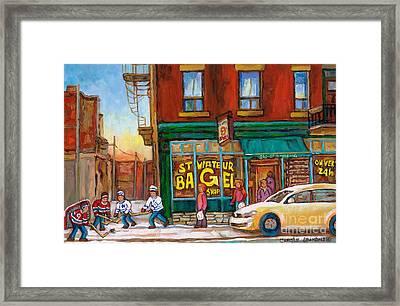 St. Viateur Bagel-boys Playing Street Hockey In Laneway-montreal Street Scene Painting Framed Print by Carole Spandau