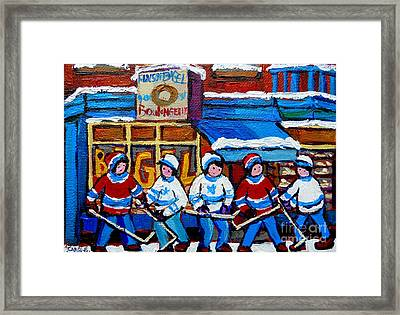 St Viateur Bagel Hockey Game Montreal City Scene Framed Print by Carole Spandau