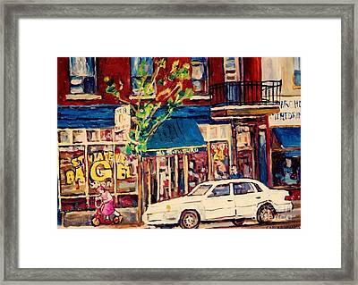 St Viateur Bagel Shop Corner Park Avenue Montreal Streetscenes Framed Print by Carole Spandau